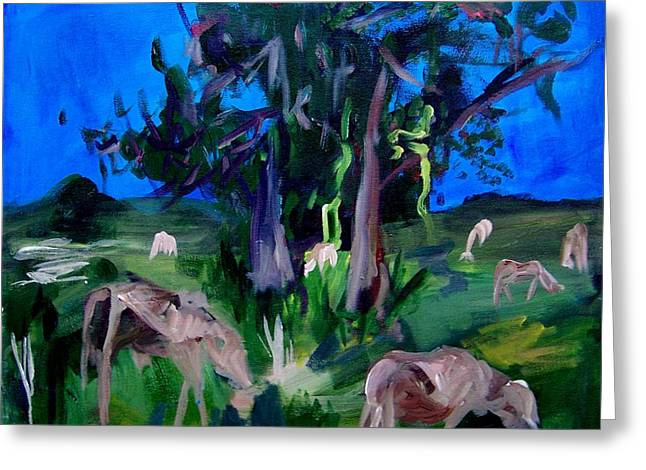 Cow Pasture   Neptune Road Greeting Card by Ellen Seymour