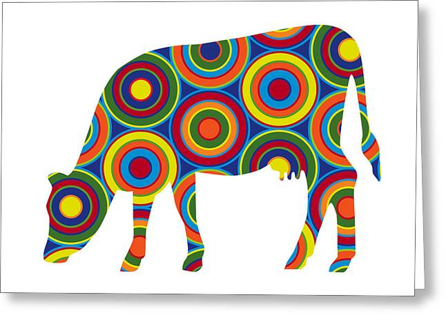 Greeting Card featuring the digital art Cow by Ron Magnes