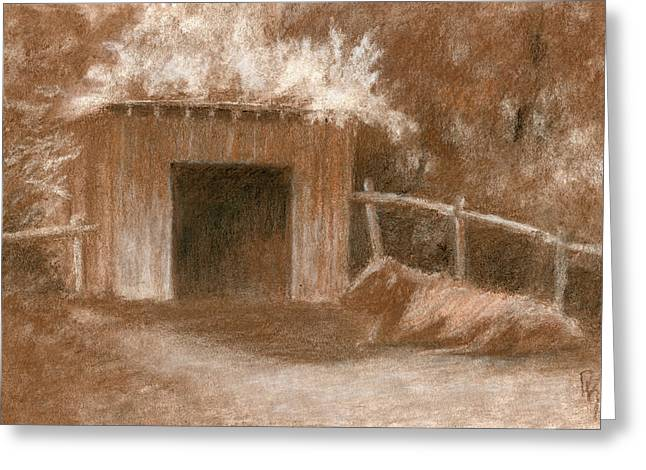 Cow Shed Greeting Card