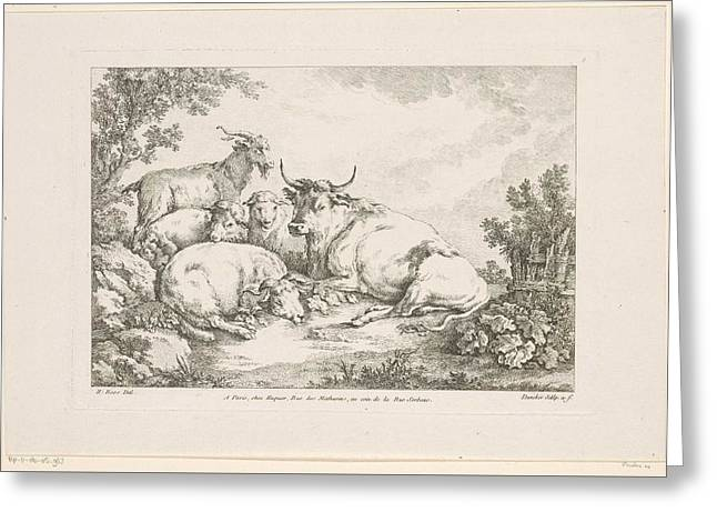 Cow With Sheep And Goats, Balthasar Anton Dunker, After Johann Heinrich Roos, 1769 - 1772 Greeting Card