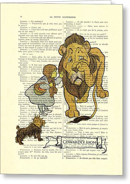 Cowardly Lion, The Wizard Of Oz Scene Greeting Card by Madame Memento