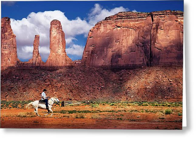 Greeting Card featuring the photograph Cowboy And Three Sisters by William Lee