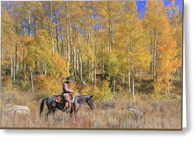 Cowboy At Work Greeting Card by Donna Kennedy