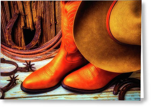 Cowboy Boots And Hat Greeting Card by Garry Gay