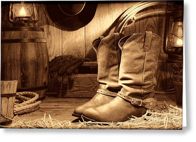 Cowboy Boots In A Ranch Barn Greeting Card