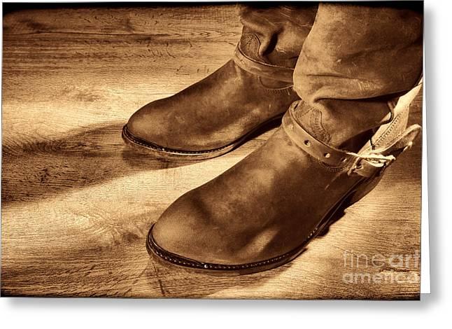 Cowboy Boots On Saloon Floor Greeting Card