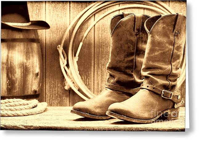 Cowboy Boots On The Deck Greeting Card