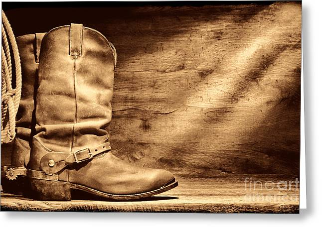 Cowboy Boots On Wood Floor Greeting Card