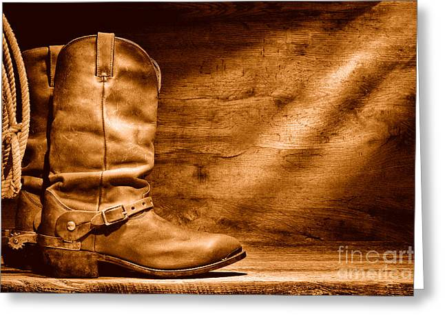 Cowboy Boots On Wood Floor - Sepia Greeting Card by Olivier Le Queinec