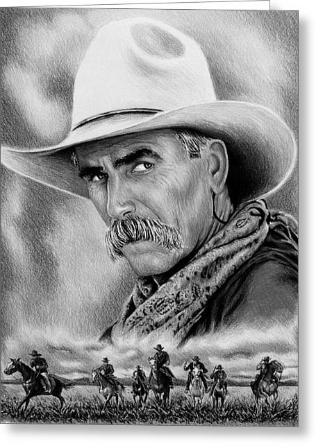 Cowboy Bw Greeting Card