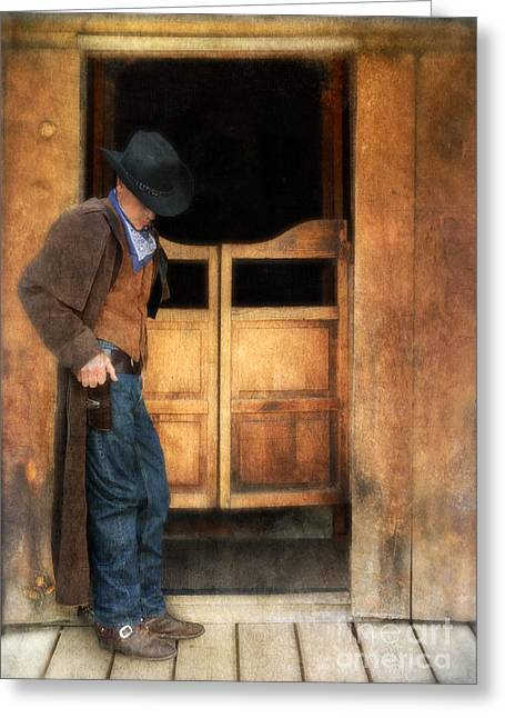 Leather Coat Greeting Cards - Cowboy by Saloon Doors Greeting Card by Jill Battaglia