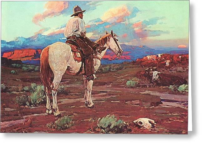 Cowboy Country Greeting Card by Pg Reproductions