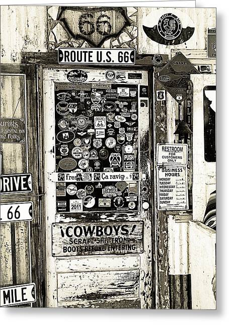 66 Greeting Cards - Cowboy Door Greeting Card by Ron Regalado