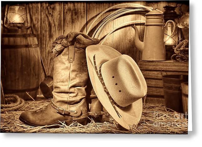 Cowboy Gear In Barn Greeting Card