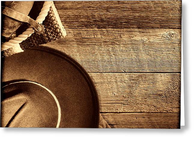 Cowboy Hat And Gear On Wood Greeting Card