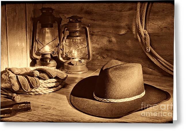 Cowboy Hat And Kerosene Lanterns Greeting Card
