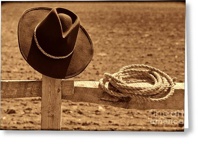 Cowboy Hat And Rope On A Fence Greeting Card