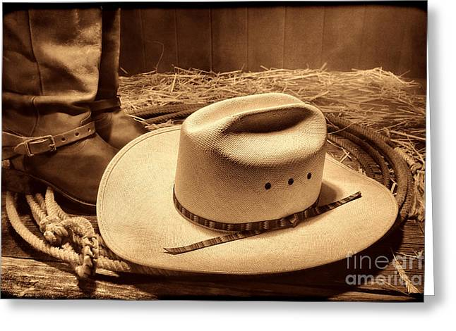 Cowboy Hat On Barn Floor Greeting Card