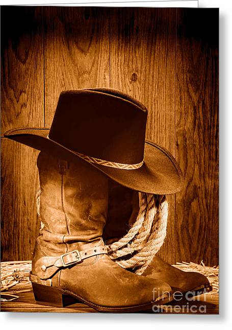 Cowboy Hat On Boots - Sepia Greeting Card
