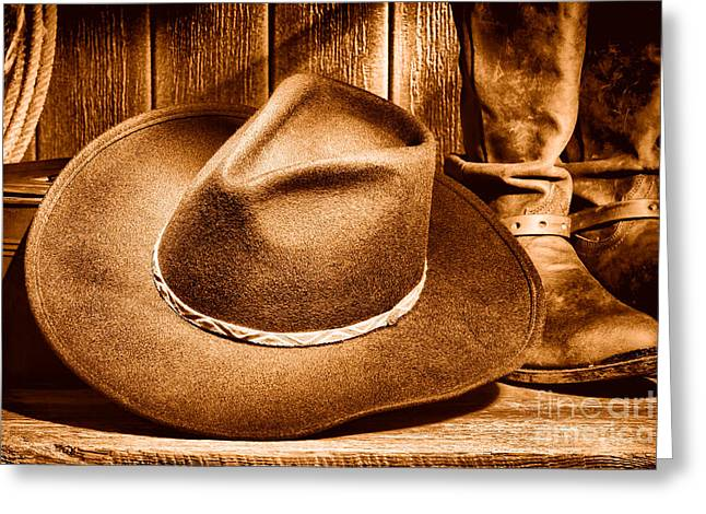 Cowboy Hat On Floor - Sepia Greeting Card by Olivier Le Queinec