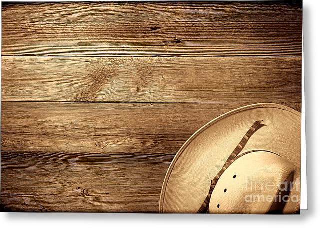 Cowboy Hat On Wood Table Greeting Card