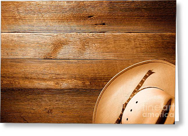 Cowboy Hat On Wood Table - Sepia Greeting Card by Olivier Le Queinec