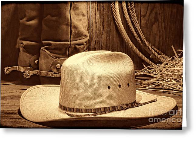 Cowboy Hat With Western Boots Greeting Card