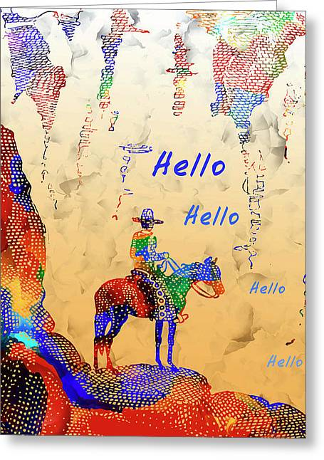 Cowboy Hello - Vintage Cowboy And Western Illustration Greeting Card