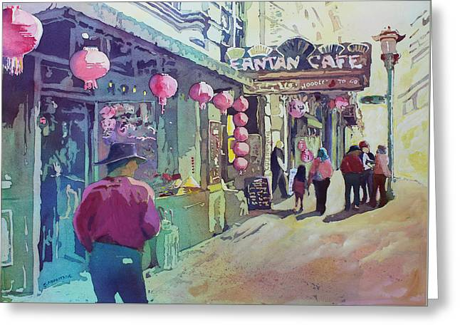 Cowboy In Chinatown Greeting Card by Jenny Armitage