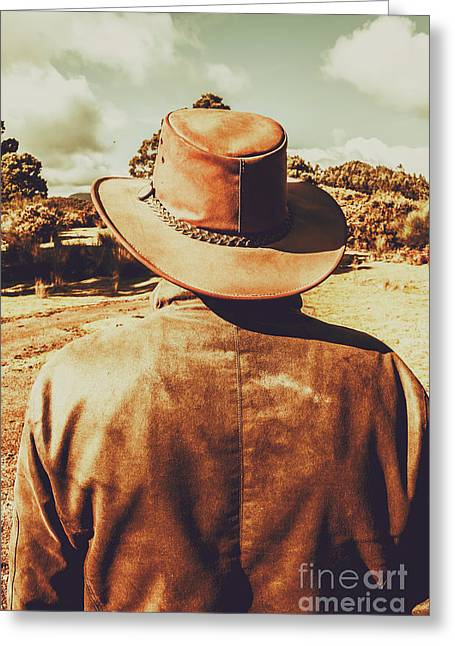 Cowboy In Hat Looking Outback Greeting Card by Jorgo Photography - Wall Art Gallery