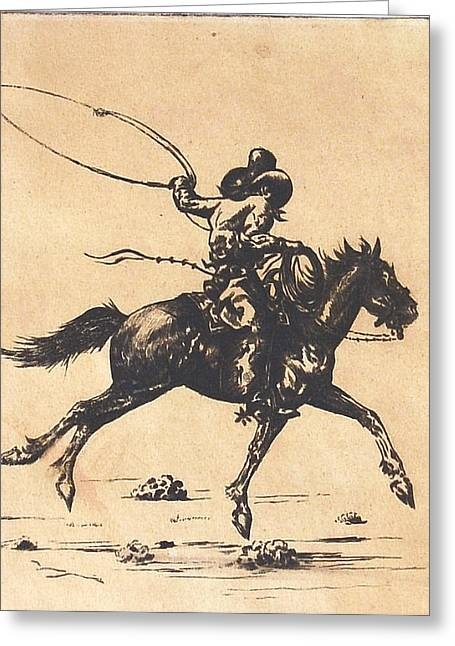 Cowboy In Roping Action Greeting Card by Smart Healthy Life