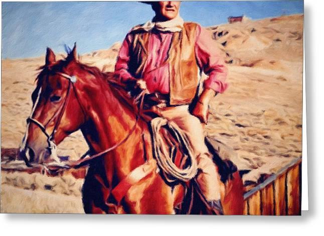 Cowboy John Wayne Greeting Card by Vincent Monozlay