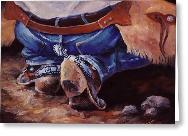 Cowboy Lawnchair  Western Buckaroo Art Greeting Card by Kim Corpany