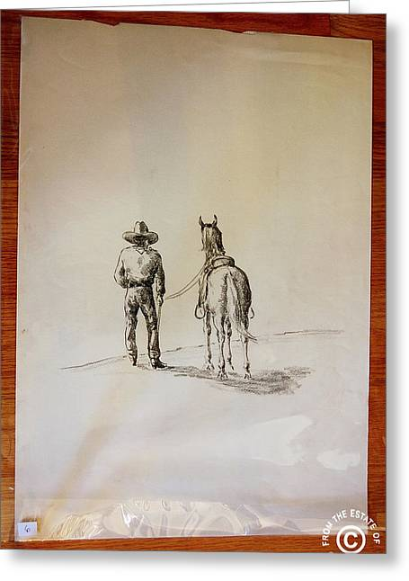 Cowboy Leading A Horse Greeting Card by Smart Healthy Life