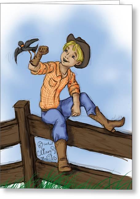 Cowboy Greeting Card by Rachel Marquez