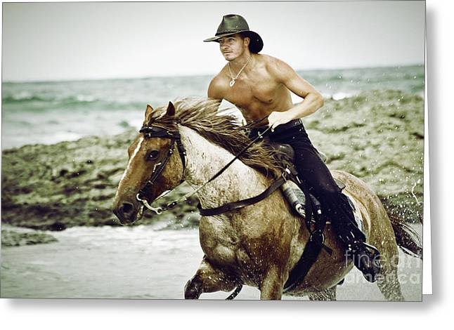 Cowboy Riding Horse On The Beach Greeting Card by Dimitar Hristov