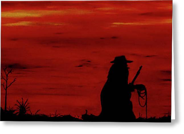 Cowboy Greeting Card by Robert Marquiss