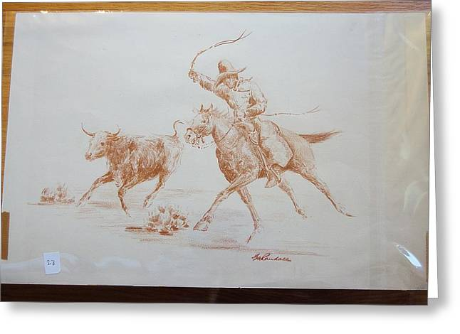 Cowboy Roping A Steer Greeting Card by Smart Healthy Life