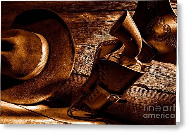 Cowboy Safety - Sepia Greeting Card by Olivier Le Queinec