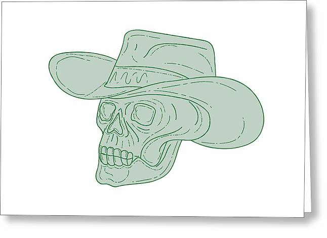 Cowboy Skull Drawing Greeting Card by Aloysius Patrimonio