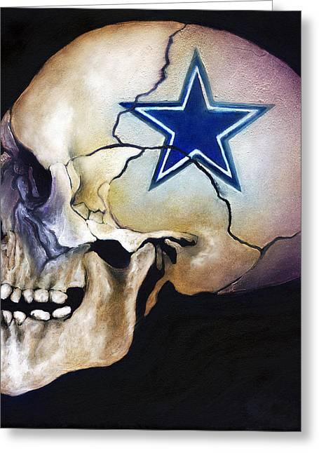 Cowboy Skull Greeting Card by Kd Neeley