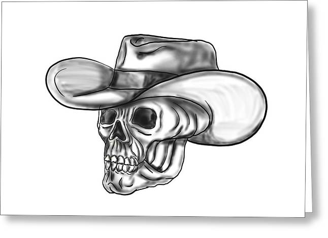 Cowboy Skull Tattoo Greeting Card by Aloysius Patrimonio