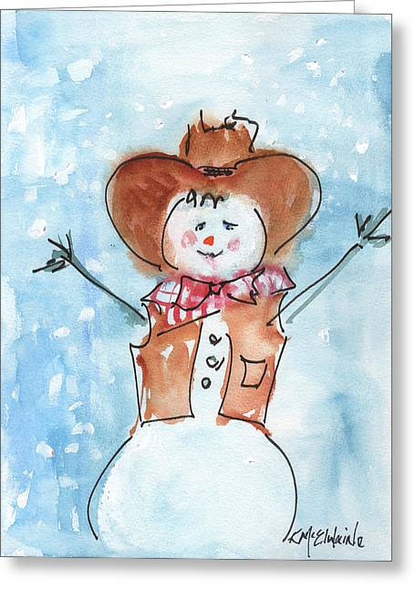 Cowboy Snowman Watercolor Painting By Kmcelwaine Greeting Card