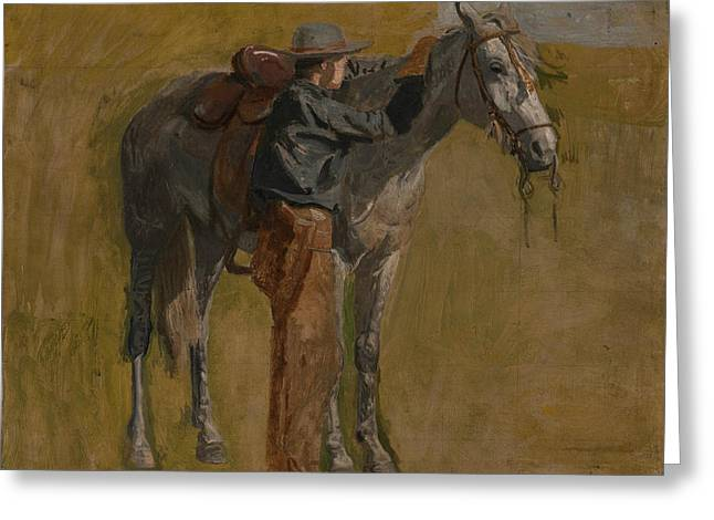 Cowboy - Study For Cowboys In The Badlands Greeting Card by Thomas Eakins