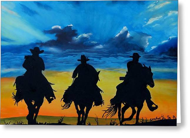 Sunset Prints Greeting Cards - Cowboy  Sunset Greeting Card by Stefon Marc Brown