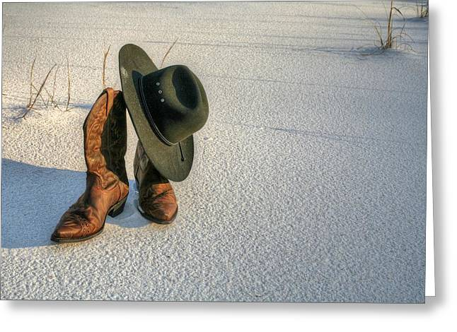 Cowboy Up In Destin Greeting Card by JC Findley