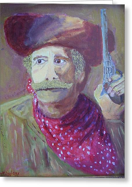 Greeting Card featuring the painting Cowboy With A Gun by Swabby Soileau