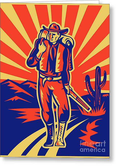 Cowboy With Backpack And Rifle Walking Greeting Card by Aloysius Patrimonio