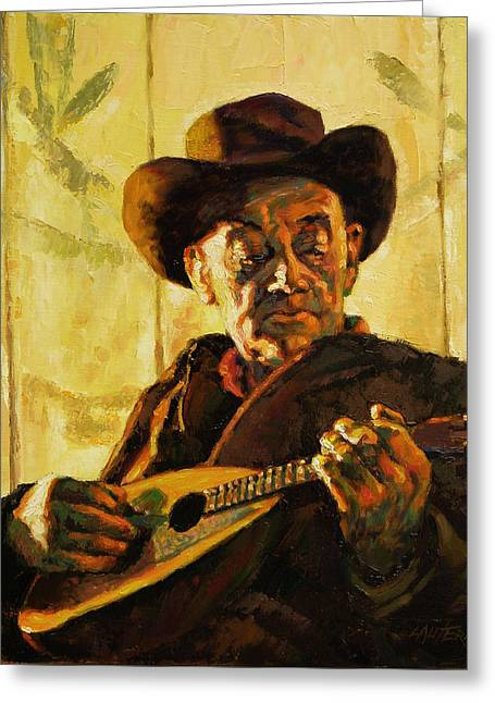 Cowboy With Mandolin Greeting Card by John Lautermilch