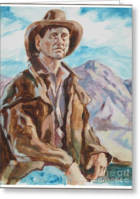 Portrait With Mountain Greeting Cards - Cowboy With Mountain  Greeting Card by Raymond  Zaplatar